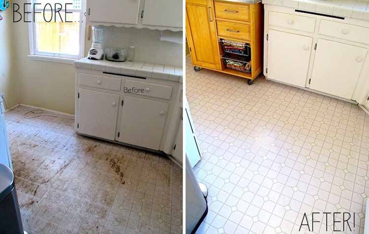 how to get yellow stains out of linoleum
